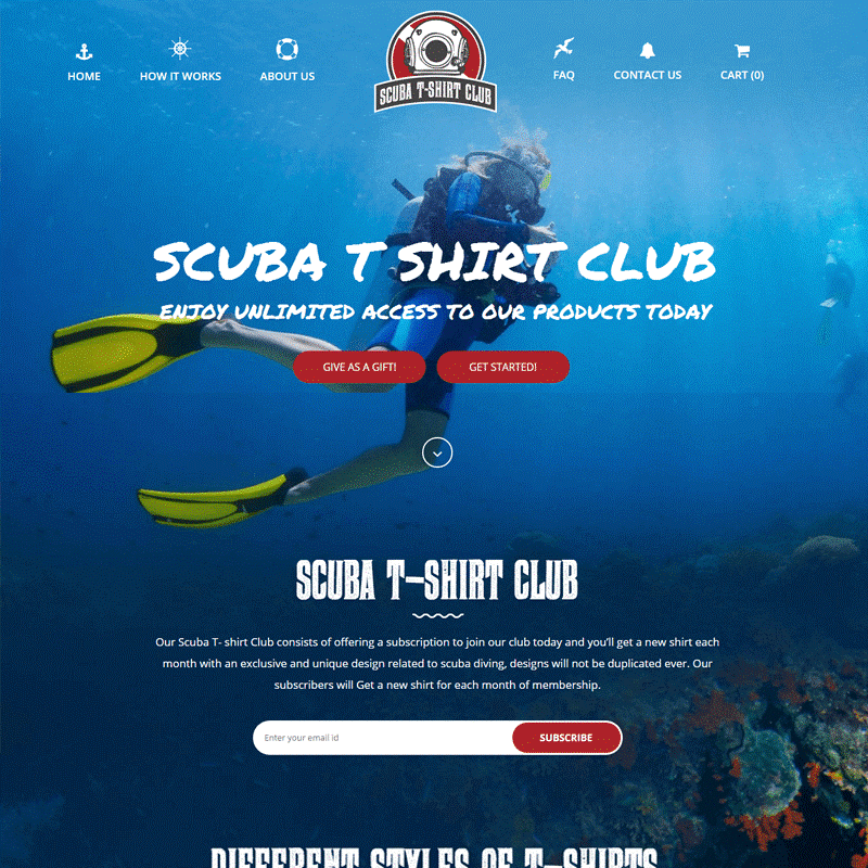 Top 10 CrateJoy Website Design-scuba tshirt club