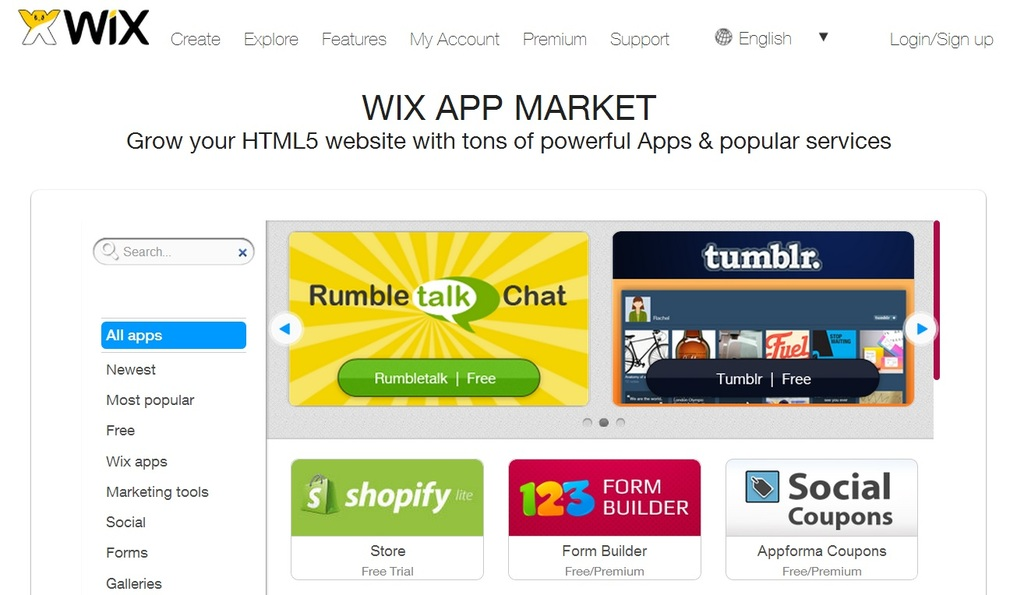 wix in-house app store